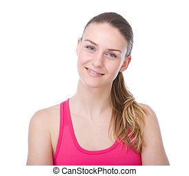 Young woman with ponytail smiling - Close up portrait of a...