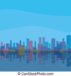 City landscape - Urban background, cityscape with cartoon...