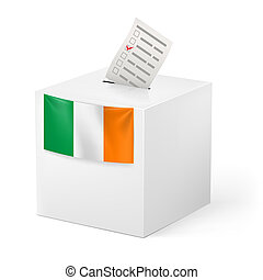 Ballot box with voting paper. Ireland - Election in Ireland:...