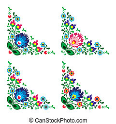 Corner border Polish floral folk - Traditional vector...