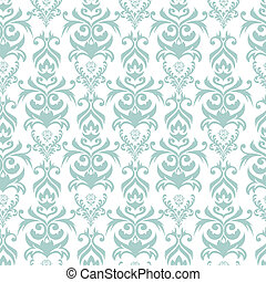 Seamless damask background - Seamless turquoise and white...