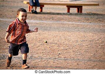 Little boy running - LIttle boy running outdoors