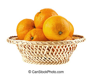 oranges in a basket on a white background