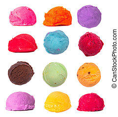 ice cream - Ice cream color scoops collection on white...