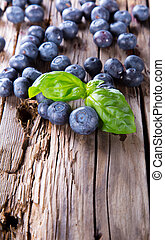 Fresh fruits on wood - Fresh blueberry on wooden table Berry...