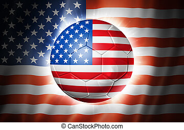 Soccer football ball with USA flag - 3D soccer ball with USA...
