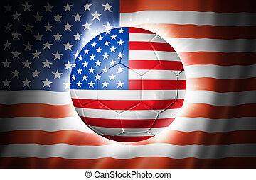 Soccer football ball with USA flag