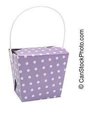 Purple party favour box - A purple party favour box on a...