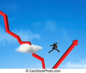 Businessman jumping over gowing down red arrow blue sky