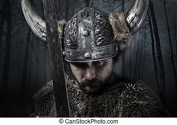 Sword, Viking warrior with helmet over forest background -...