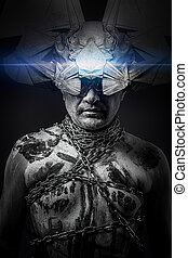 Alien, man chained with fantasy mask