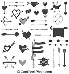 Hearts, Arrows, Set, -, Valentine's, Day, Wedding, Design,...