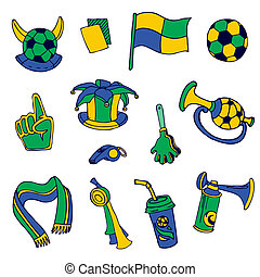 Fan Elements: Soccer, Footall, Brazil  - hand drawn - in vector