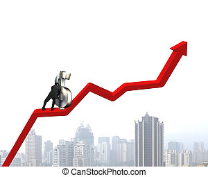 Pushing money symbol up on growing red arrow
