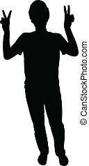 man making victory sign silhouette vector
