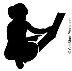 cute girl studying silhouette