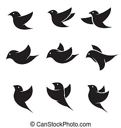 Set of vector bird icons on white background