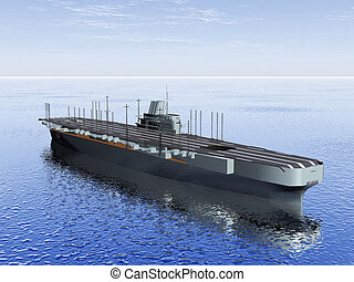 the  aircraft carrier on the sea