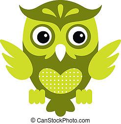 Cartoon Owl_1 - Vector illustration of a cute owl, isolated...