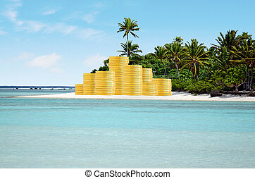 Travel vacation costs and savings concept with golden coins...