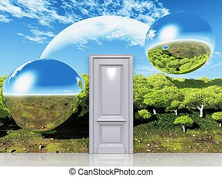 the door to a magical landscape