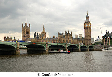 The British Parliament Building and Big Ben - A view across...