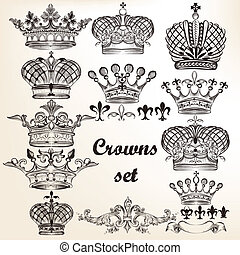 Set of vector hand drawn crowns - Vector set of crowns for...