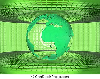 the earth on a green background