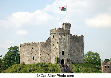 Cardiff Castle in Wales - Cardiff Castle in summertime with...