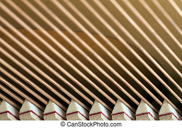 snares of a piano in closeup with dampers