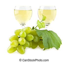 glasses of wine and cluster of vine on a white background