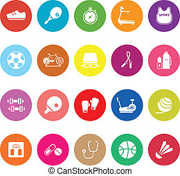 Fitness sport flat icons on white background, stock vector