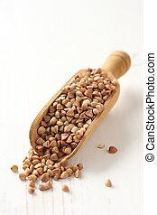 legno, paletta, grano, fondo, grano saraceno, bianco