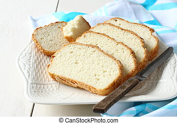 fresco, Forno, cortado, gluten, livre, pão, prato