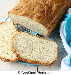 caseiro, gluten, livre, pão, azul, metal, grade