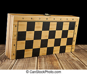 chess-board on a black background