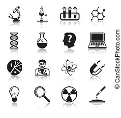 Chemistry or biology science icons set of test tube light...
