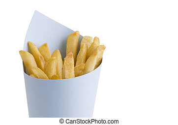 French fries in paper cornet, isolated on white background....