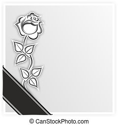 grief - illustration of simplified rose with black ribbon