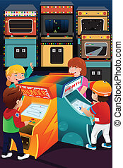 Kids playing arcade games - A vector illustration of kids...