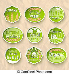 Farming harvesting and agriculture stickers set of natural...