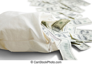 Trail of Funds - Canvas mony sack with one hundred dollar...
