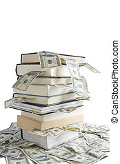 Knowledge is Money - Books stacked on top of one hundred...