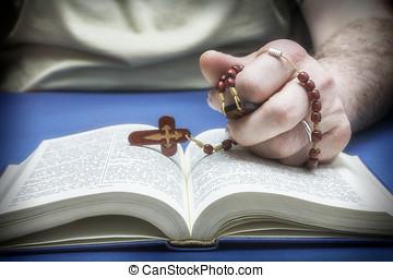 cristão, crente, orando, Deus, rosário,...
