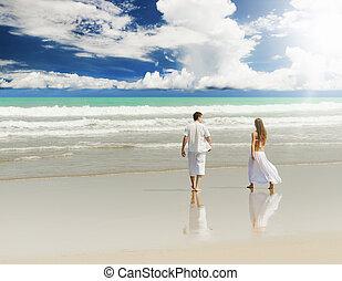 Paar, sandstrand, junger