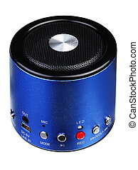 Blue mini portable speaker isolated on a white background