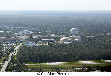 Overlooking Epcot Center, Orlando - An aerial view...