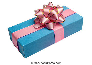 blue box with gift and bow, is tied up by a tape