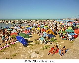 Crowded Beach - Crowded beach in the atlantic coast of...