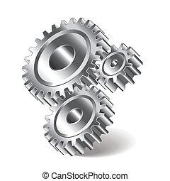 Three gear wheels vector illustration
